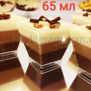 пластиковый десертный стаканчик прозрачный квадратный