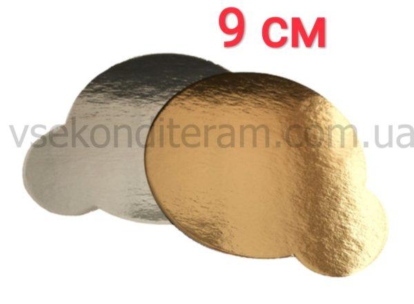 подложка золото/серебро круглая с ручкой 9 см