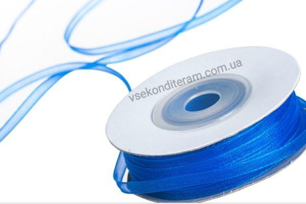 лента органза 0,3 см синяя