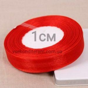 лента органза 1 см красная