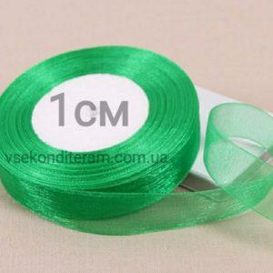 лента органза 1 см зеленая